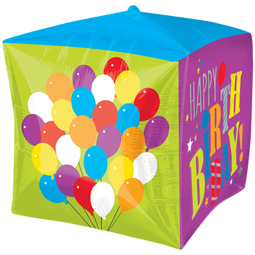 "15"" Cubez Happy Birthday Foil Balloon"